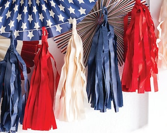 Red White and Blue Tissue Tassel Garland | 4th of July Party Decoration 4th of July Party Supplies Patriotic Holiday Team USA Fourth of July