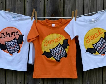 Personalized Halloween Bat Patch Applique Shirt or Bodysuit for Boy or Girl