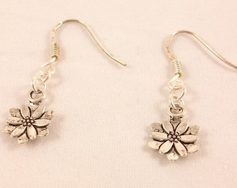 Silver 925, lotus flower earrings