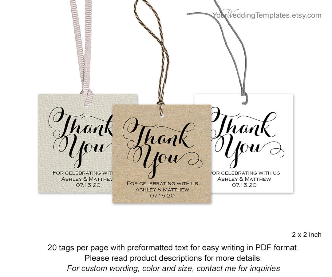 Modern thank you tags Wedding favor thank you tags DIY