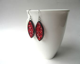 Paper Quilling Earrings, Red Black Earrings, Red Unique Earrings, Unique Paper Earrings, Quilling Earrings, Gift For Her, Quilling Jewelry