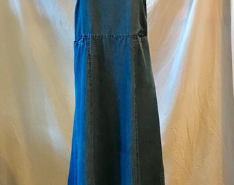 blue bibbed smock dress