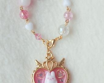 Pink Bunny Heart Bag Charm