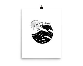 Full Moon Waves Print