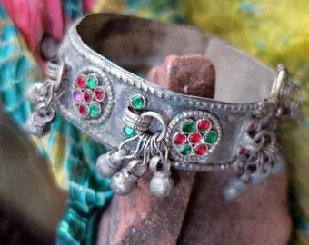 VINTAGE KUCHI BRACELET - Beaded Bell Cuff Tribal Jewelry