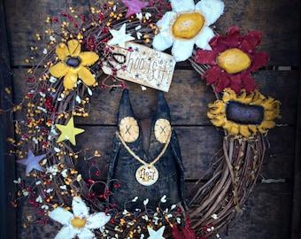 Primitive owl wreath - primitive owls -primitive wreath -primitive flowers