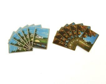 Vintage Card Lot, Vintage Playing Cards,Golfing Cards, Golf Club cards, Country Home Card Lot,Golf Art Prints,  Architecture Art Print cards