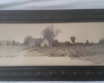 Pen and Ink Drawing Mounted on Board Cottage By Pond
