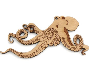 Octopus Ornament - Made in the USA with sustainably harvested wood! - Timber Green Woods.