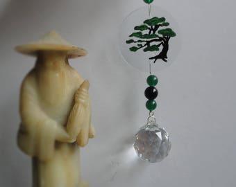 Bonsai Tree, Sun Catcher, Ornament, Hand Painted, Glass Sculpture, Vintage Crystal Ball, Home Decor, Zen, Asian, Nature Art, Window Hanging