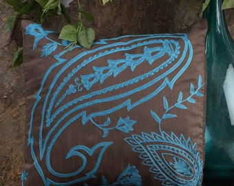 """Brown and teal Chain Stitch Embroidered Cushion Cover,Throw Pillow Cover,Cushion Cover,Standard Size 16"""" x16"""""""