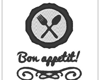 Bon appetit kitchen cooking towel embroidery pattern 4 inch download for Machine Embroidery