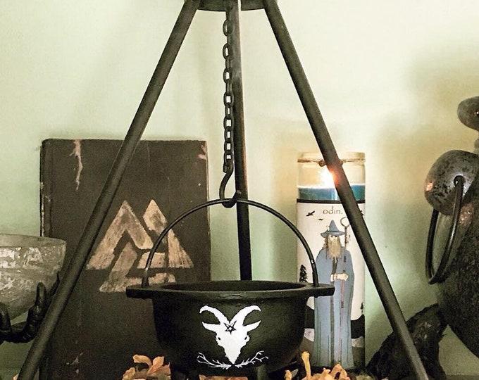 Featured listing image: Witch Cast Iron Cauldron Set, Hand painted goat cauldron, Hand painted cat cauldron, Incense cauldron, Cat or Black Phillip Cauldron