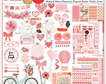 Feburary Planner Kit! Planner Kit in Pink Coral Roses, Hearts, Flowers  5 PDF, Happy Planner & EC, Bible Journaling Valentine