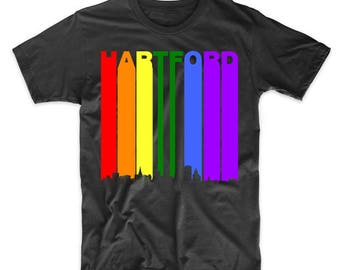 Hartford Connecticut Skyline Rainbow LGBT Gay Pride T-Shirt