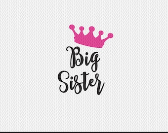 crown big sister svg dxf file instant download silhouette cameo cricut clip art commercial use