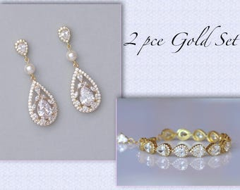Gold Bridal Set, Gold Jewelry Set, Wedding Jewelry Set, Earrings & Bracelet Set,  Coco/Tamara P Set