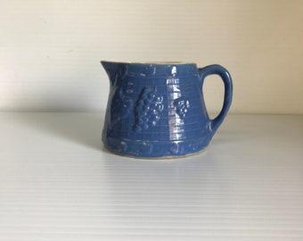 Antique light blue salt glaze molded stoneware squat pitcher embossed grapes trellis UHL pottery crock