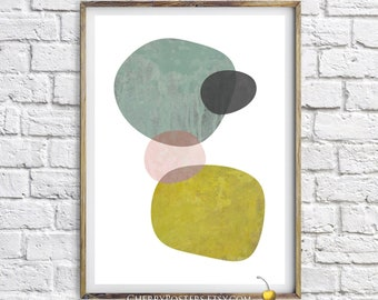 Geometric abstract - Print - Scandinavian decor, Mid century modern art, oldschool poster, textured print, Minimalist poster, Watercolor.