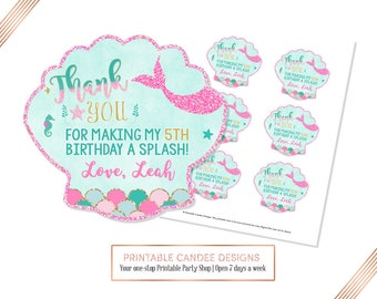 Pink Mermaid favor tags Under the Sea gift Party Decor thank you Favors Printable Instant Download