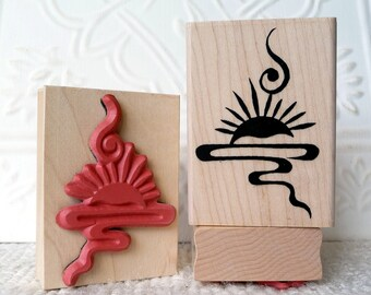 Chinese Sunset symbol rubber stamp from oldislandstamps