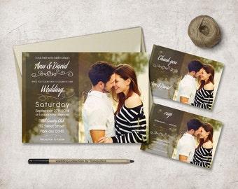 Photo Wedding Invitation Printable, Wedding Stationery Set, Photo Wedding Invite, Printable Wedding Invitation Suite, Digital File