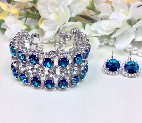 Swarovski Triple Row Bermuda Blue & Crystal Bracelet and Earrings - Absolutely Stunning Bridal Cuff -Designer Inspired - FREE SHIPPING