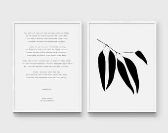 Pablo Neruda Quote Printable. Love Sonnet Poem. Poetry Quote. Romantic Quote. Wedding Quote. Diptych Print. Eucalyptus Leaves Botanical Art.