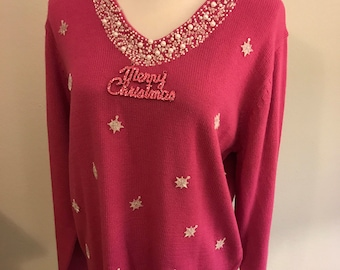 Christmas tacky ugly pink sweater size large with snowflakes and beads