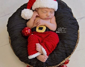 Instant Download Crochet Newborn Christmas Santa Hat and Pants Outfit Pattern, Newborn Baby Boy Santa Photo Prop, Babies First Christmas