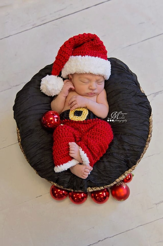 Instant Download Crochet Newborn Christmas Santa Hat And Pants