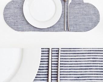 Placemat, Cloud Linen Placemat, kitchen decor, Striped Table Mats, Baby Shower Gift, Children's placemats, Striped Kitchen Accessory