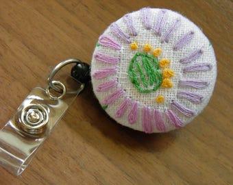 Badge holder, vintage embridery
