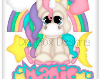 Digital Unicorn Scrapbooking Clipart Instant Download