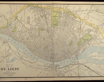 St Louis Map St Louis Street Map Vintage 1930s Original