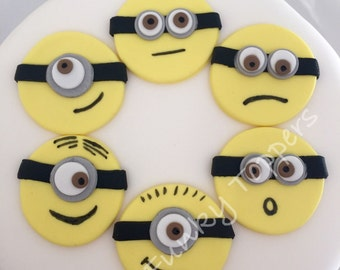 6 Edible Minion Style Cupcake Toppers Cake Decorations Birthday Sugar Fondant