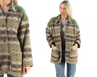 Wool Blanket Coat 80s Moss Green Beige Aztec Jacket Vintage Oversize Boxy Tribal Geo Print NATIVE AMERICAN Southwest Outerwear Large