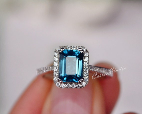 Emerald Wedding Anniversary Gifts: Natural London Blue Topaz Ring Emerald Cut Topaz Engagement