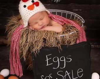 Newborn Chicken/ Rooster Hat/ Spring Newborn Hat/ Easter Newborn Prop/ Chicken Hat/ Crochet Chicken Hat/Year of the Rooster