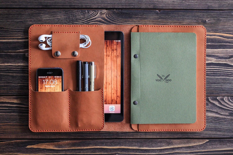 iPad mini leather folio. iPad and document organizer. iPad
