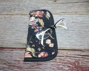 Fabric Eyeglass Case, Flowered Eyeglass Case