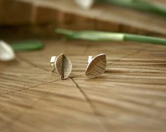 Tiny Silver Leaf Stud Earrings: Leaf Earrings, Sterling Silver Studs, Jewellery, Rustic, Nature, Woodland Earrings, Everyday earrings,