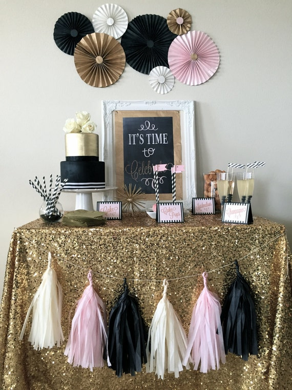Items similar to Black Blush Gold Sparkle Celebration complete