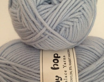 Crystal Palace Bunny Hop Yarn, Color Medium Blue, Worsted Weight, Fiber- blend of microacrylic, micronylon, and rabbit angora