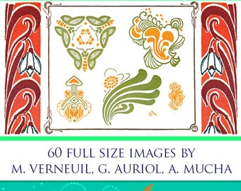 ART NOUVEAU PATTERNS Book 60 Full Page Designs By Maurice Verneuil, Georges Auriol, Alphonse Mucha Rare Printable illustrations Scrapbooking