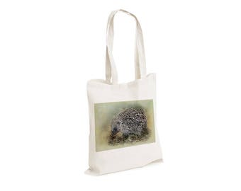 Hedgehog Woodland Creature Animal Hunter - Watercolour watercolor Tote Canvas bag, White, Reusable Shopping Bag