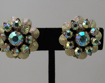 Mint Condition Gold Tone Floral Clip Earrings with Aurora Borealis Rhinestones 1950-60s