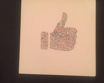 Like Thumbs Up Blank Card Square - Personalise Custom Handmade