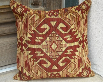 Southwestern Pillow Cover 16 x 16 to 24 x 24.  Rich upholstery fabric.  Deep red and gold