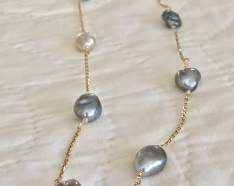 Cultured Tahitian Pearl Keshi Tin Cup Necklace, 14k Gold (KTC1)